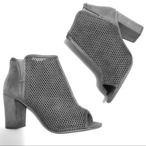 Shoes - Gray peep toe ankle booties ❤️